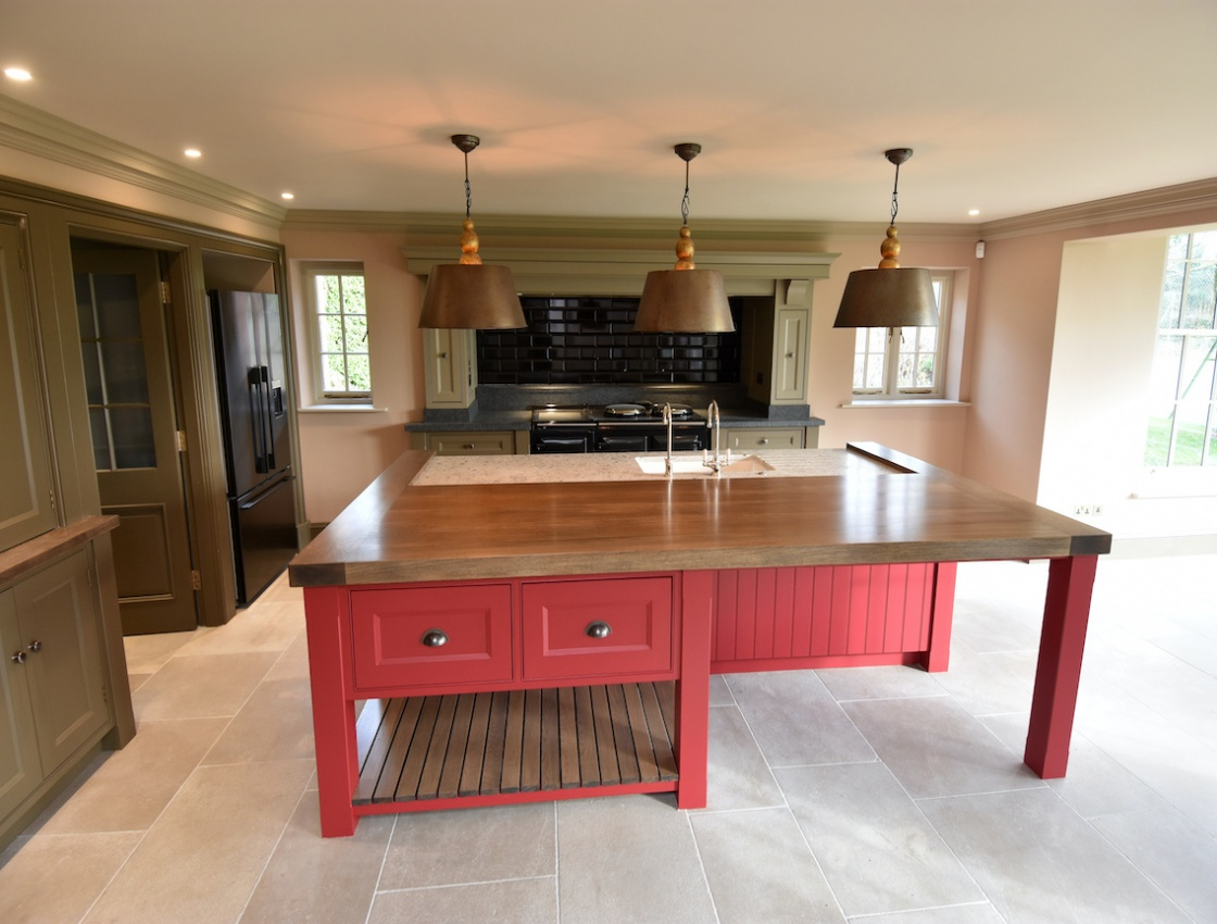 Red Island with Oak & Marble